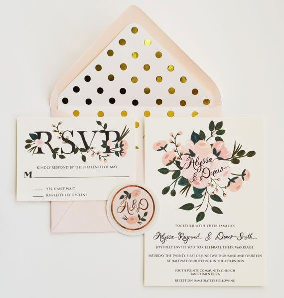 pink and gold wedding invitation with lined envelopes