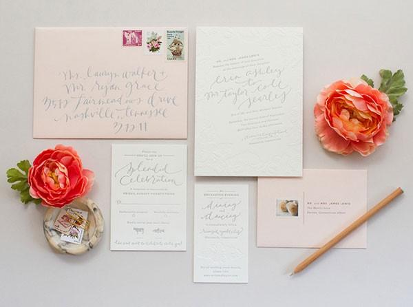 blush and gray letterpress wedding invitation