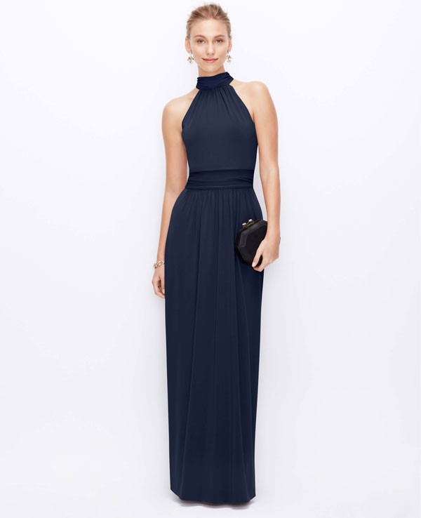 long navy bridesmaid dress with high neck and sleek silhouette