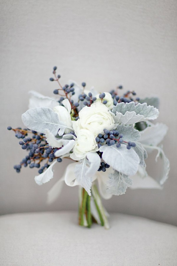small wedding bouquet featuring dusty miller and elderberries