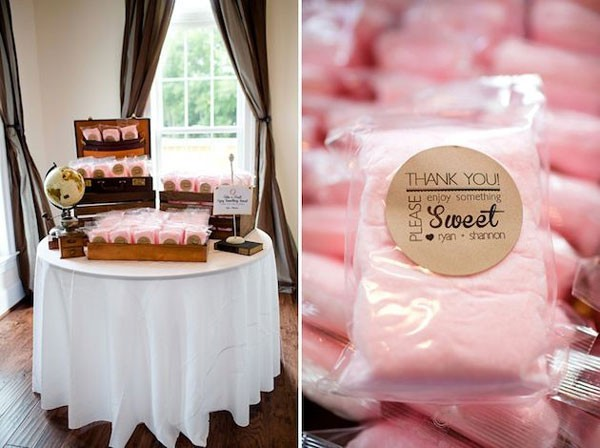 cotton candy wedding favors in individual bags with personalized stickers