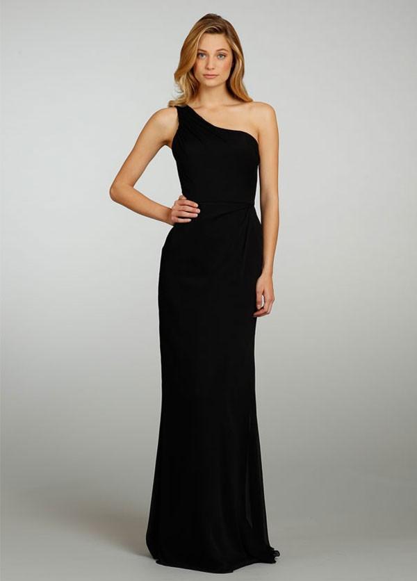 floor length, one shoulder bridesmaid dress in black