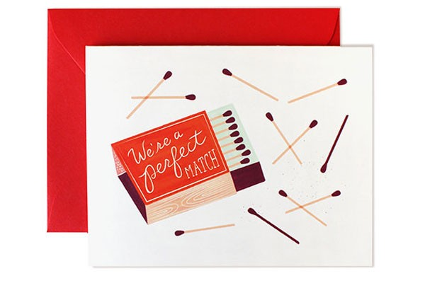 valentine with matchbox illustration about being the perfect match