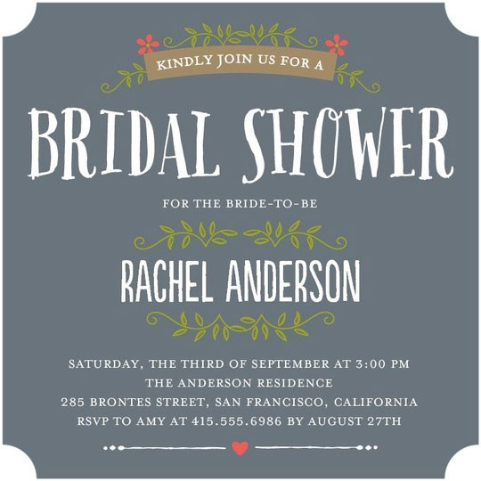 Cute bridal shower invitations from wedding paper divas wedding gray bridal shower invitation with floral and vine details filmwisefo