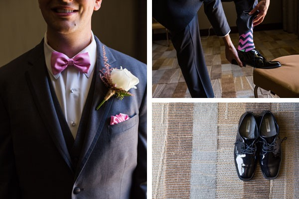 groom with pink bow tie and patterned socks