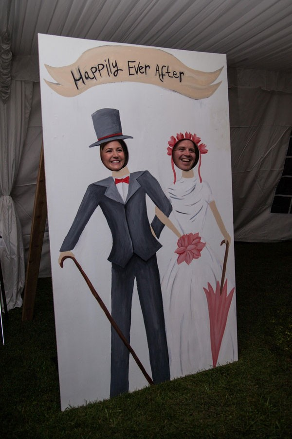 funny photo booth prop at reception