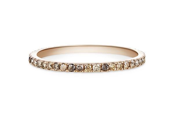 champagne diamond pave wedding ring