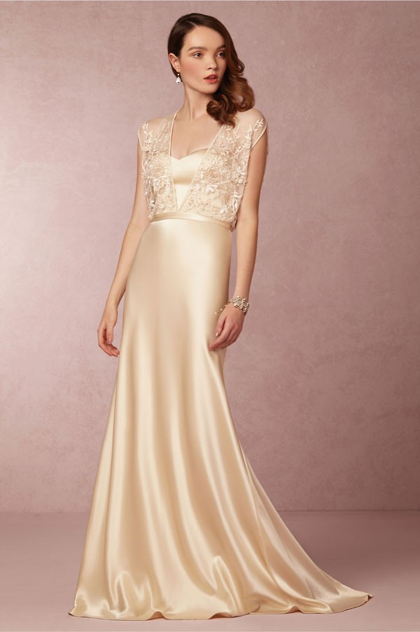 slinky champagne wedding dress with lace blouson top