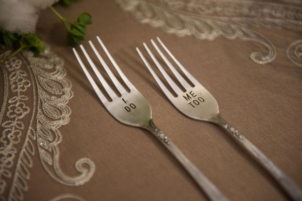 engraved cake forks for bride and groom