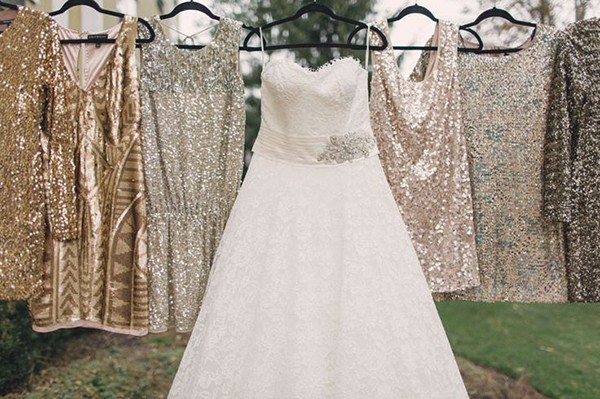 Sparkly gold and silver wedding dresses