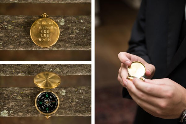 engraved compass as wedding gift for groom