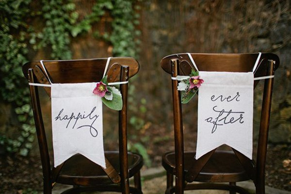 Happily ever after bride and groom chair sign