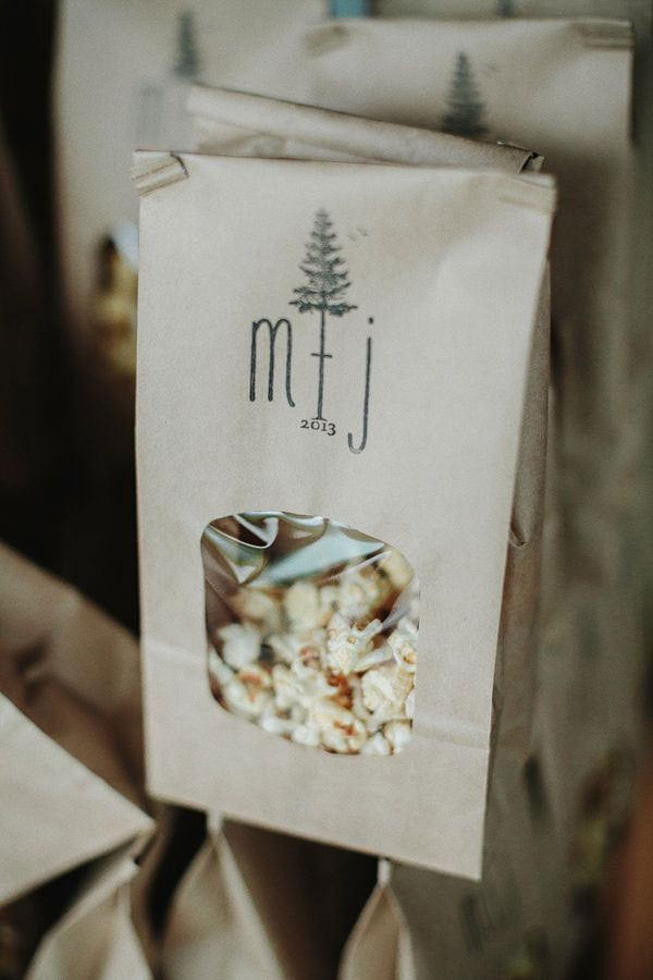 bag of kettle corn for wedding favor with monogram stamp