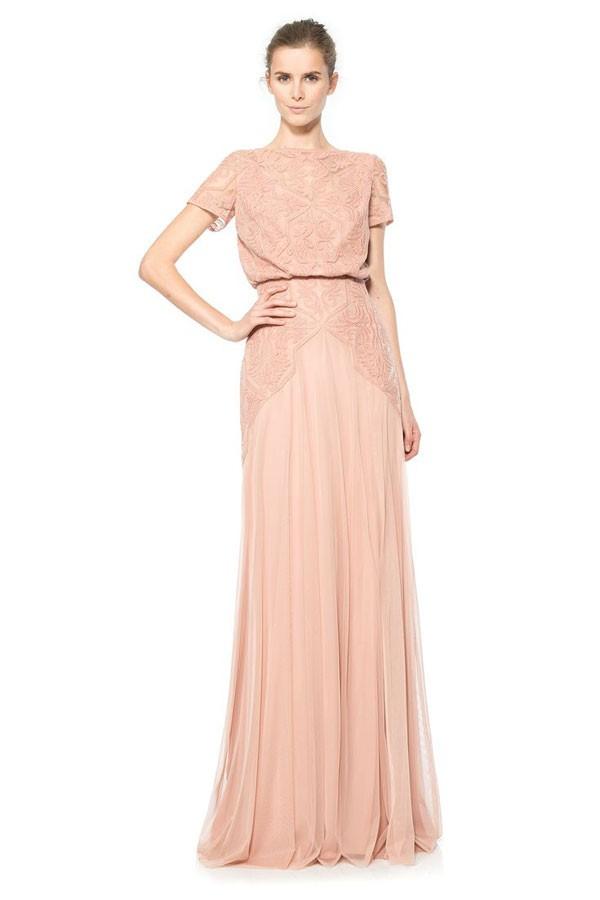 blouson top floor length bridesmaid dress in dusty rose with Art Nouveau details