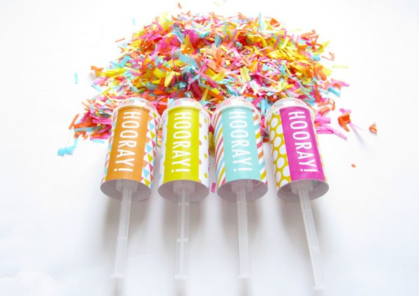modern confetti popers in bright sherbet colors for wedding exit