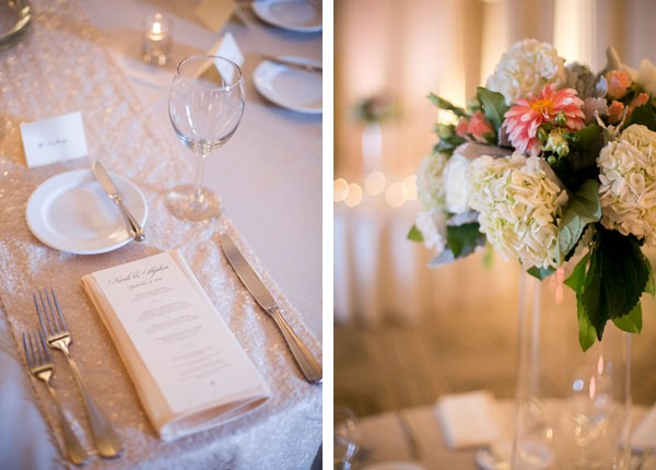 tall reception centerpiece and sequined table runners under simple place settings