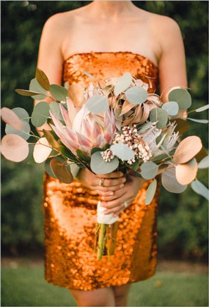 bridesmaid bouquet with gold spray painted eucalyptus leaves