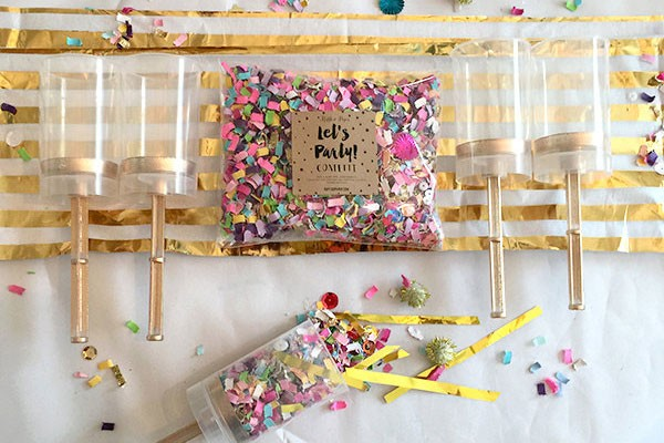 bright DIY confetti push pops for bride and groom exit