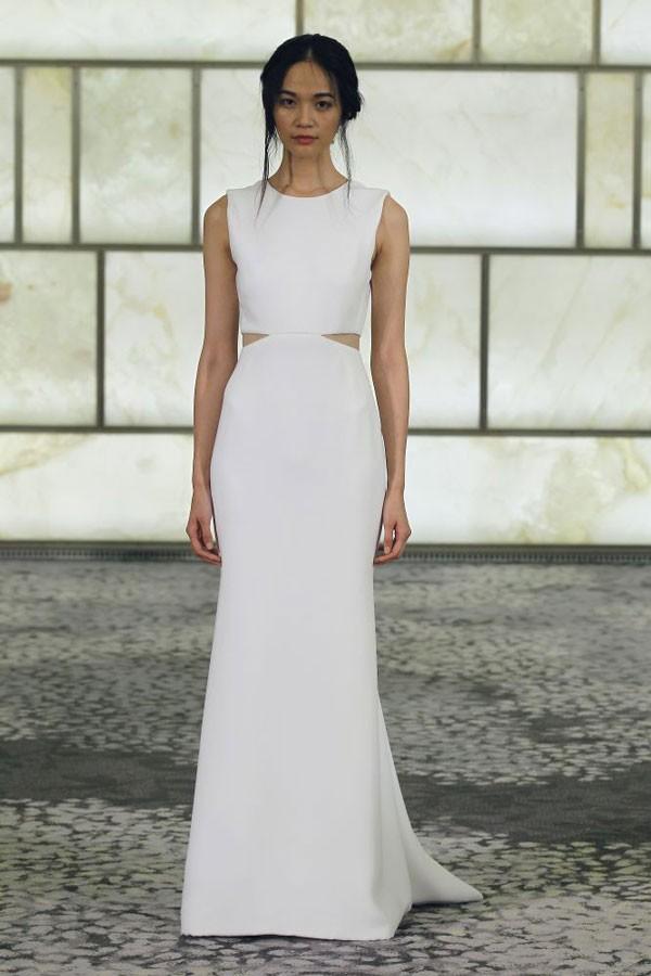 sleek wedding dress with cutouts at waist