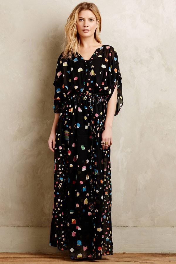beach wedding black maxi bridesmaid dress with dot pattern