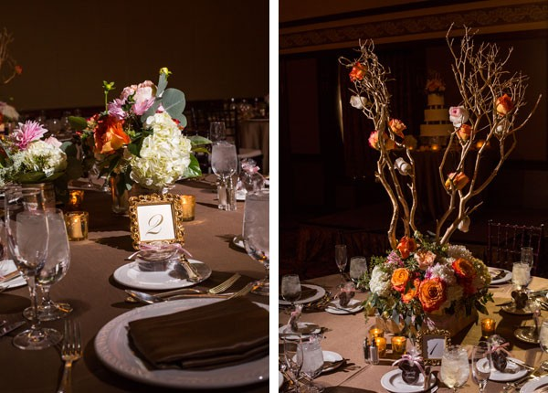 low floral centerpieces and high centerpieces with coral roses attached to branches