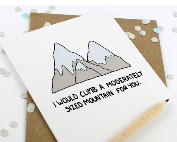 funny Valentine's Day card about climbing a mountain