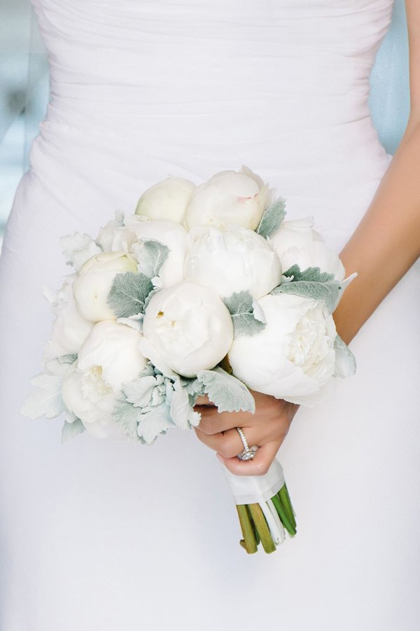 bridal bouquet with white peonies and dusty miller