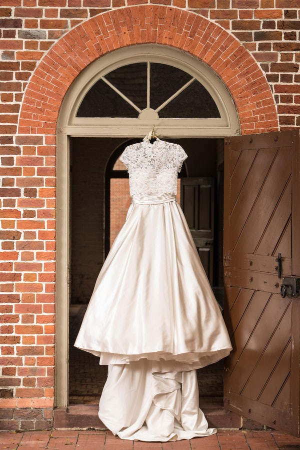 princess wedding dress with lace shirt overlay