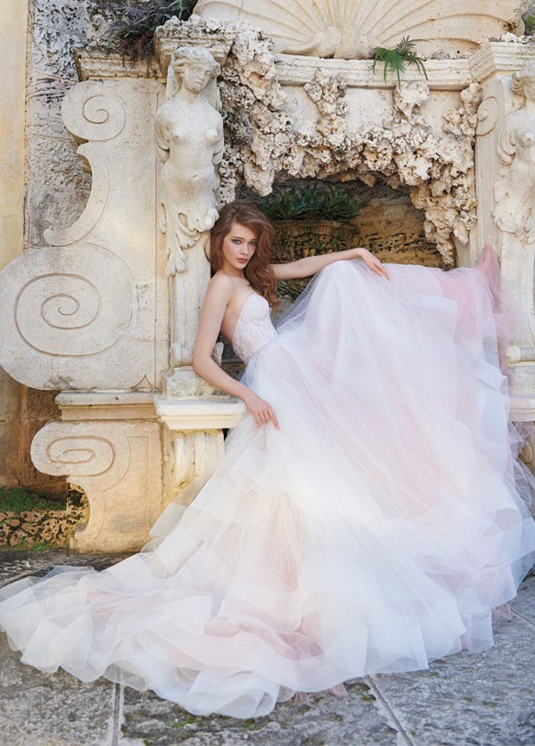 wedding dress with very full ballgown skirt and lingerie inspired bodice