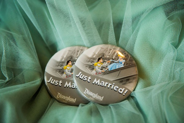 just married buttons from Disneyland for newlyweds