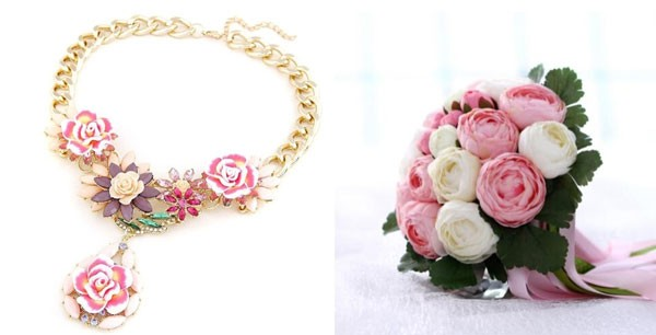 flower necklace and pink and white silk bouquet