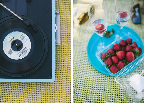 vintage record player and strawberries for romantic picnic