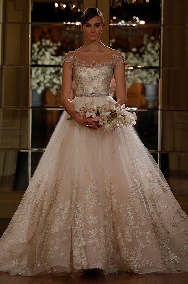 Romona Keveza champagne accented blush wedding dress with illusion accents around neckline
