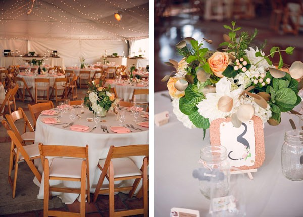 pink napkins on round reception tables with floral centerpieces