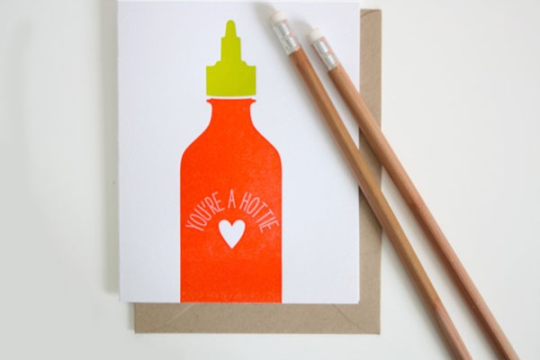 valentine with bottle of hot sauce illustration