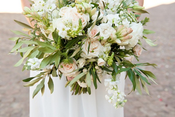 pale pink and white wedding bouquet with tea roses