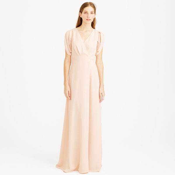 floor length bridesmaid dress in pale blush