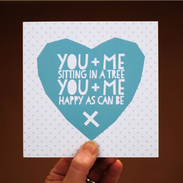 blue heart valentine card with tiny polka dots