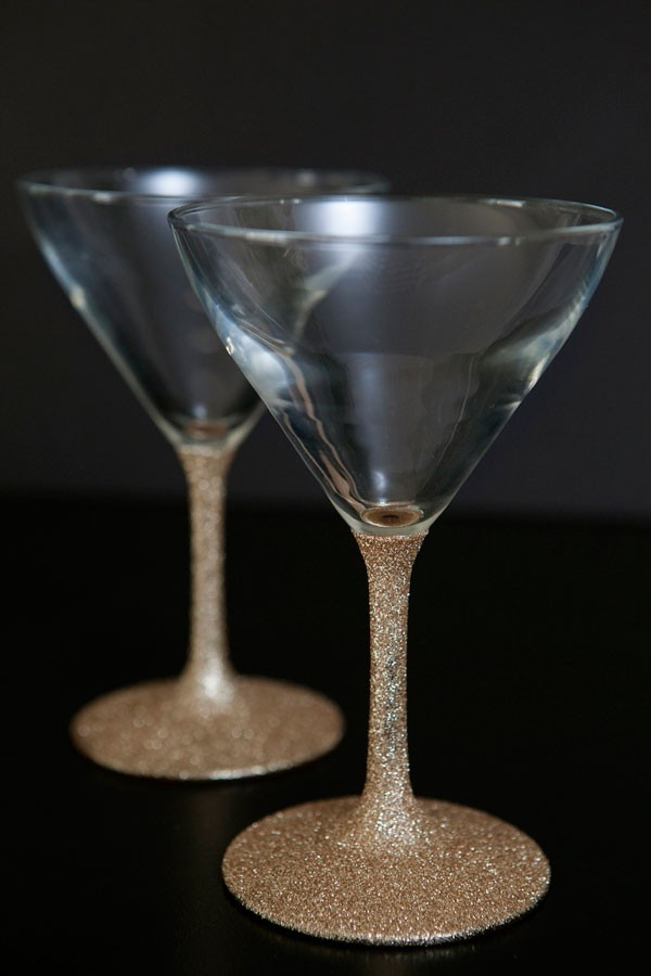 gold glitter dipped DIY martini glasses