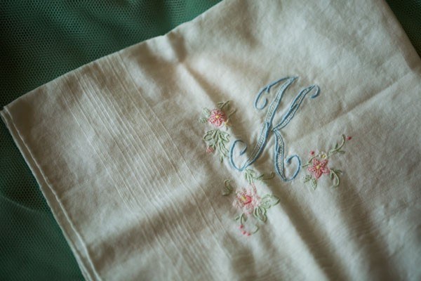 pastel monogram embroidered handkerchief with small flowers