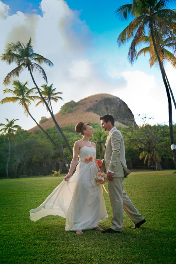 bride and groom on lawn in Saint Lucia