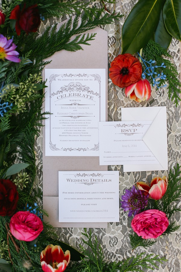 vintage wedding invitation surrounded by pink and orange flowers