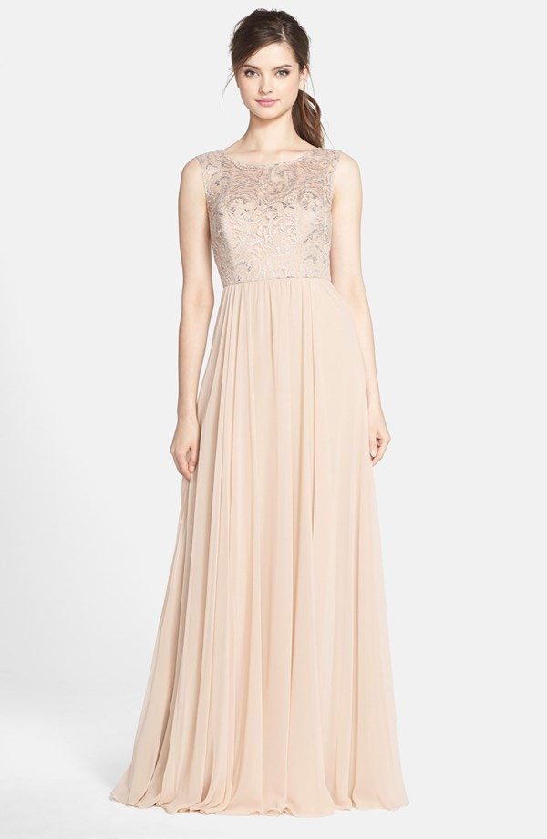 floor length bridesmaid dress in nude with metallic lace bodice