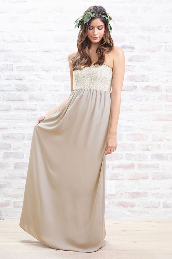 neutral, floor length bridesmaid dress in sand with lace empire waist bodice