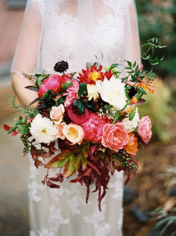 full wedding bouquet with Juliet roses, rosemary, peony, and dahlias