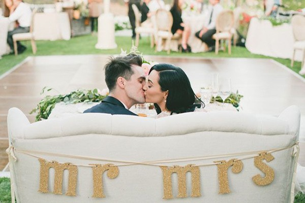 Modern glitter letter wedding chair signs