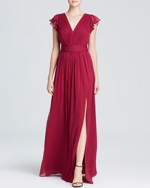 long bridesmaid dress with above the knee slit and cap flutter sleeves