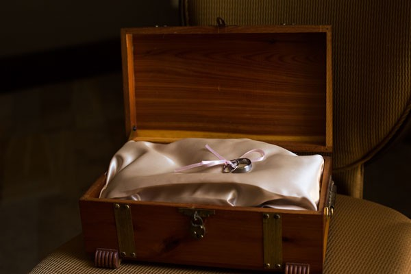 wooden ring chest with satin ring pillow and ribbon