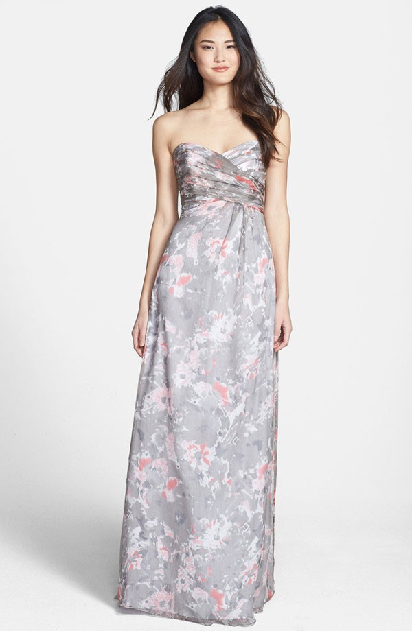 long, gray floral bridesmaid dress with strapless sweetheart neckline