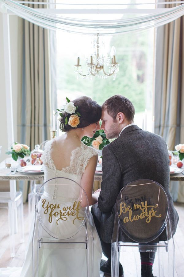 unique bride and groom chair signs